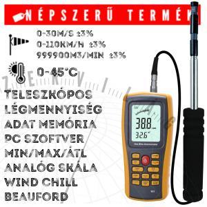 N903 hődrótos szélsebesség mérő, légsebességmérő, anemométer teleszkópos érzékelővel