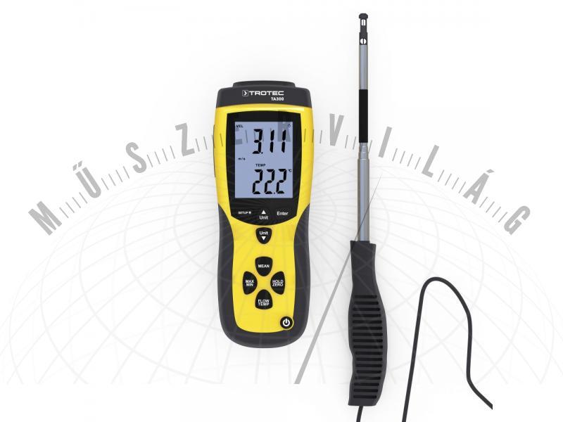 TA300 hődrótos légsebességmérő, precíziós légmennyiségmérő, anemométer kalibrációs bizonyítvánnyal