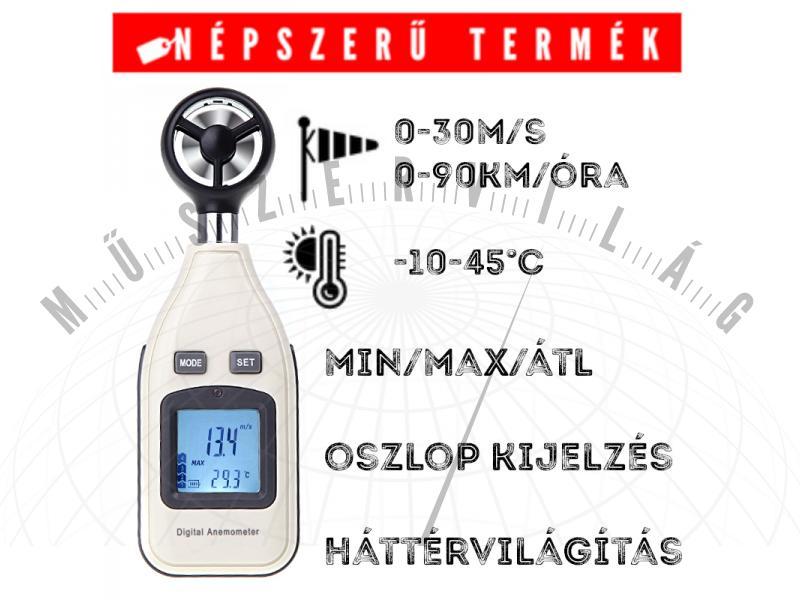 6A SZÉLMÉRŐ szélsebességmérő anemométer