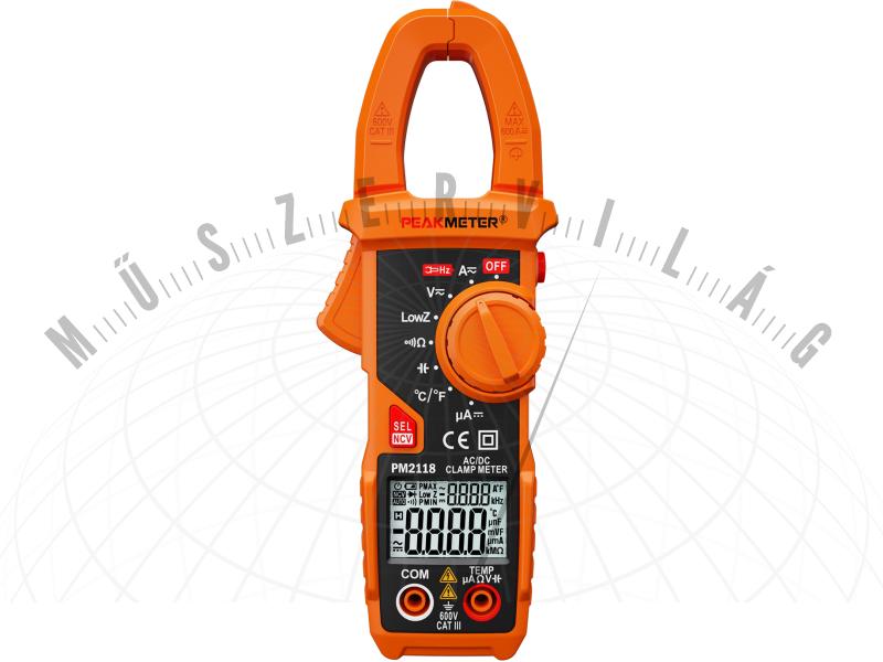 PM2118 lakatfogó multiméter 600A AC/DC automatikus méréshatár váltással, kapacitás mérés, frekvencia mérés, hőmérséklet mérés