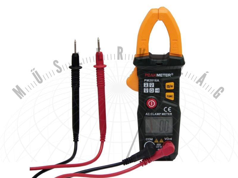 Mini lakatfogó multiméter 200A AC Peakmeter PM82016A automatikus méréshatár váltással és VALÓS CATIII 600V besorolással