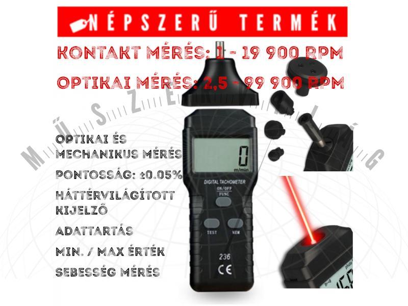 T236 Fordulatszám mérő Digitális mechanikai és lézeres optikai fordulatszám mérő tachométer